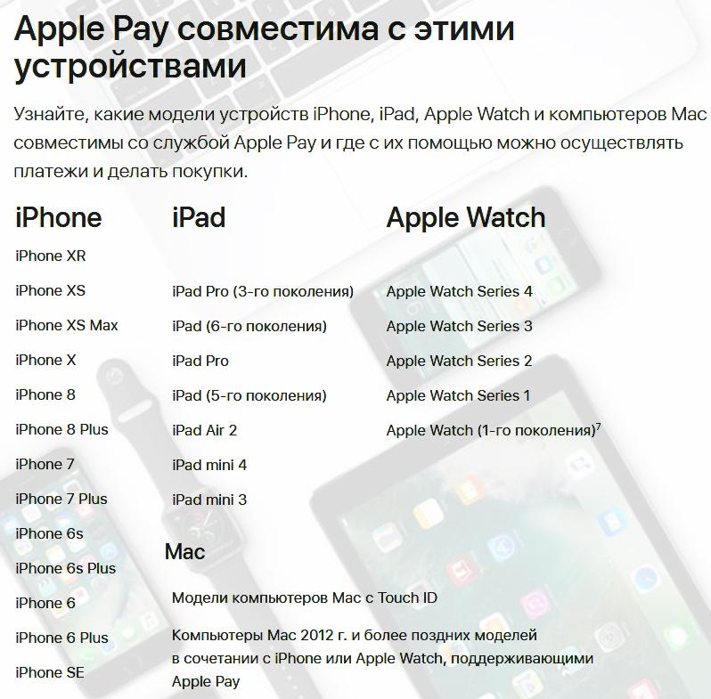 Какие устройства поддерживают Apple Pay