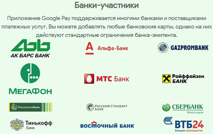 банки партнеры Android Pay