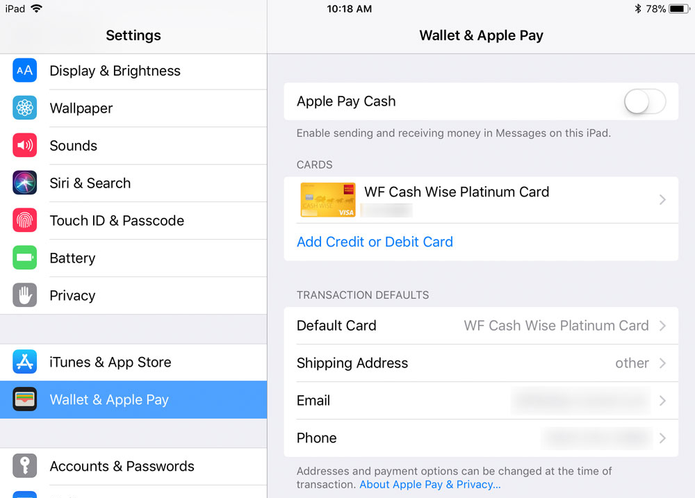 iPad Wallet и Apple Pay
